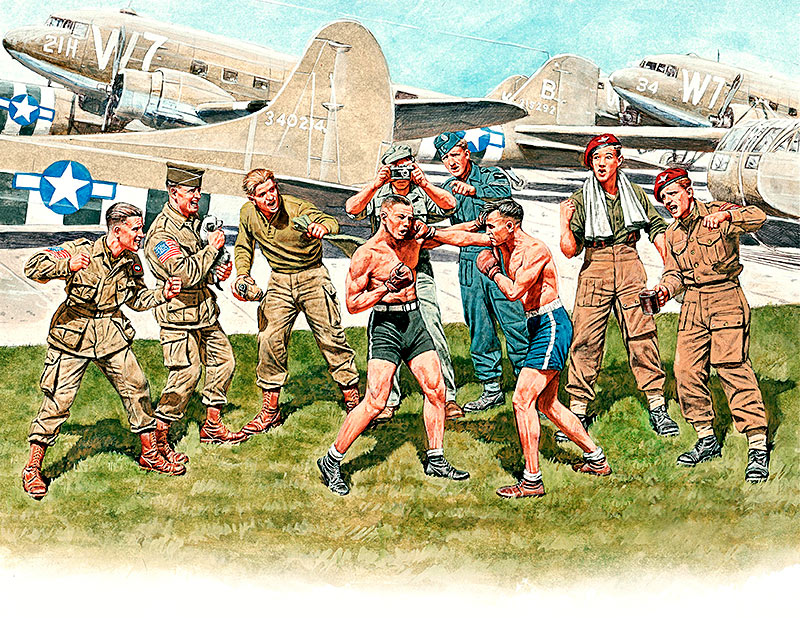 Friendly boxing match. British and American paratroopers, WW II era /35150/
