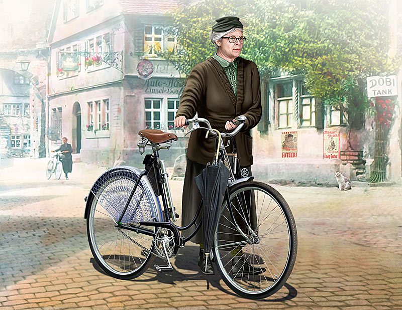 Frau Müller. Woman & Women's Bicycle, Europe, WWII Era /35166/
