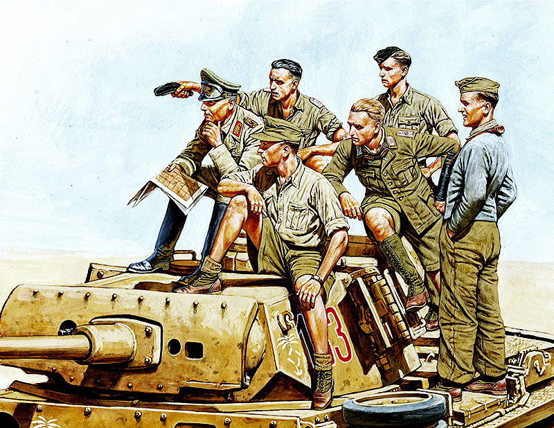 Rommel and German Tank Crew, DAK, WW II era /3561/