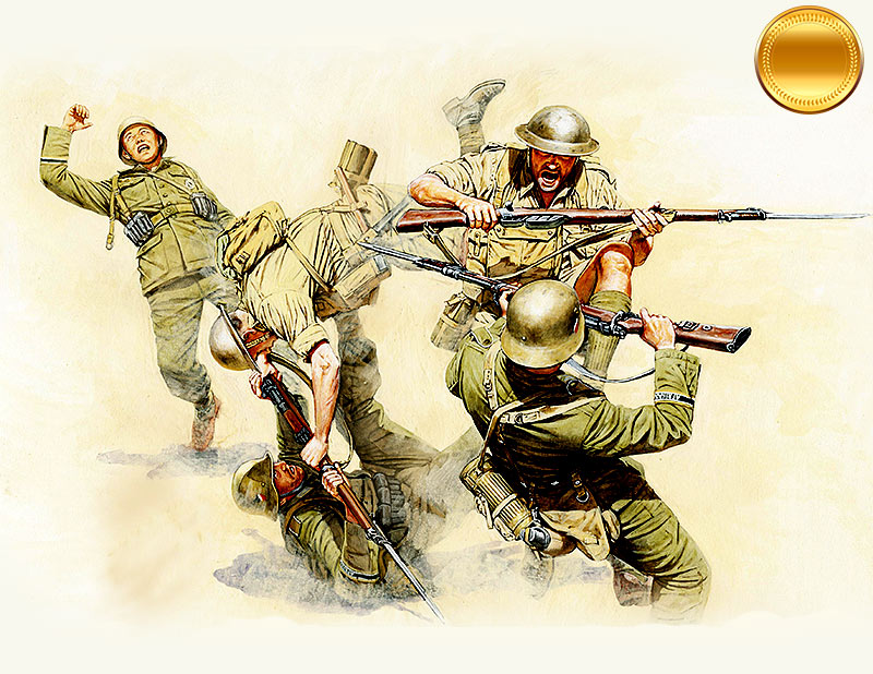Hand-to-hand fight British and German Infantry, battles in Northern Africa,kit #1 /3592/