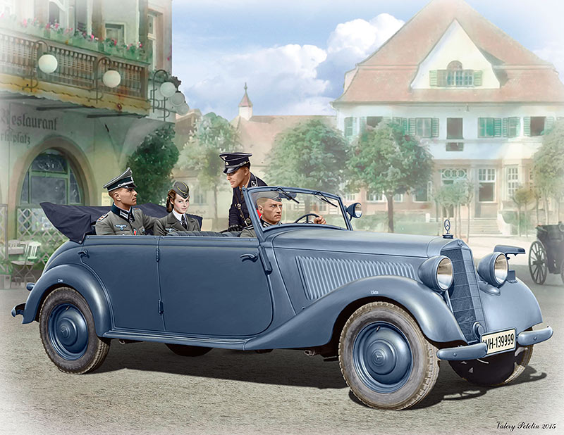 German military car, Type 170V, Tourenwagen with crew, WW II era /35113/